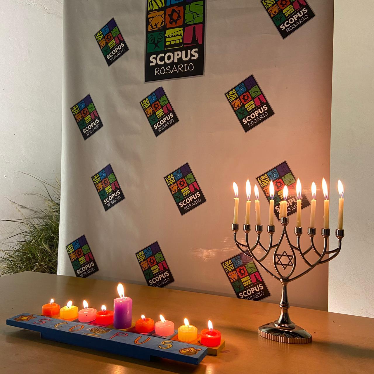Encendido de la 8° vela de Januca en Beit Scopus
